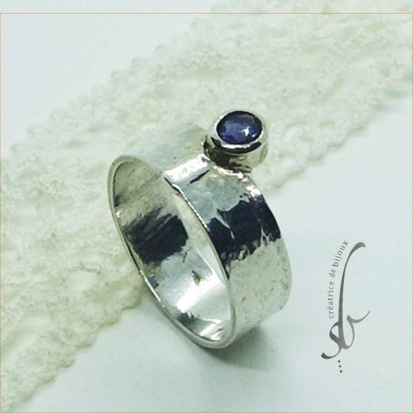 bague argent et pierre bleu coriédite