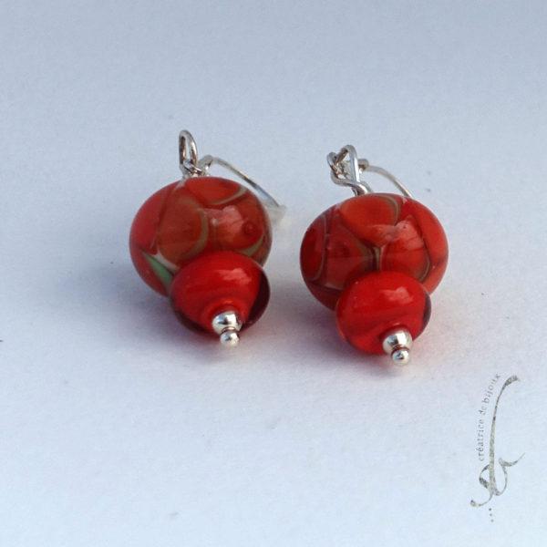 Boucles d'oreilles perles en verre de Murano et argent massif