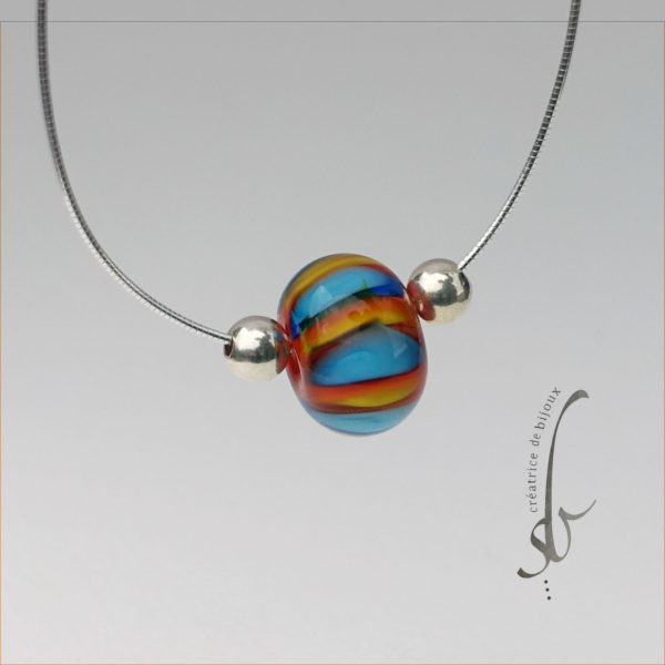 Perle verre de murano jaune orange bleu