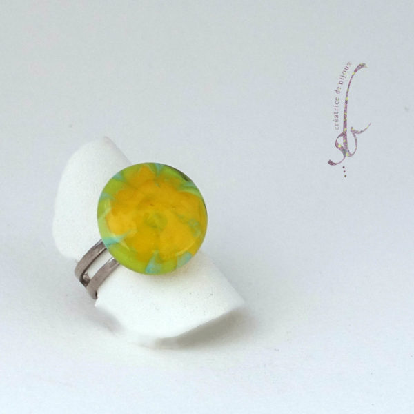 Bague en verre de Murano jaune et vert anneau argent