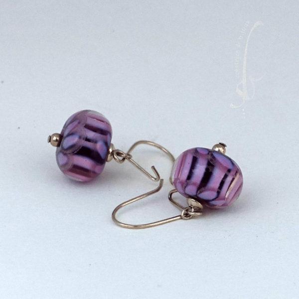Boucles d'oreilles verre de Murano et argent massif