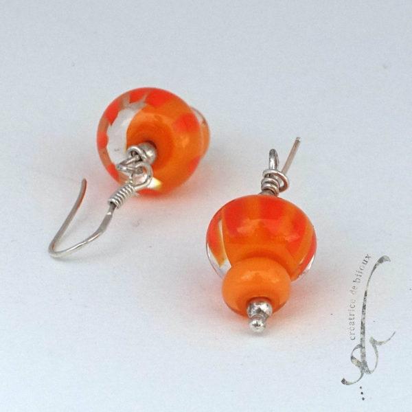 boucles d'oreilles en verre de Murono couleur orange