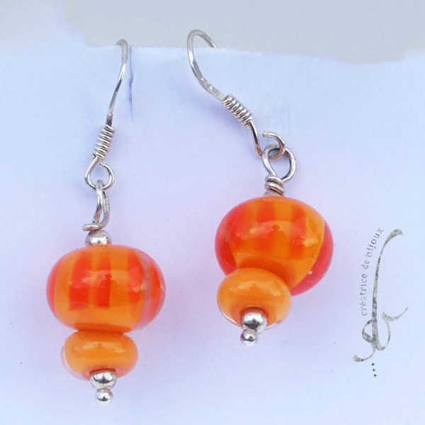 verre de murano boucles orange