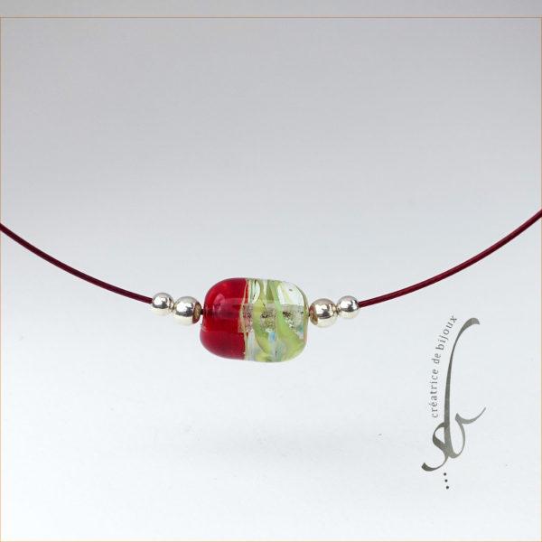 perle vert de murano rouge et vert sur cable