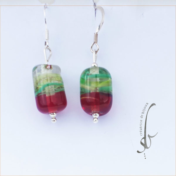 Boucles d'oreilles perles en verre rouge et vert