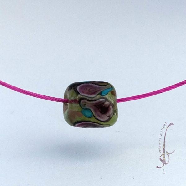 perle Murano mauve vert