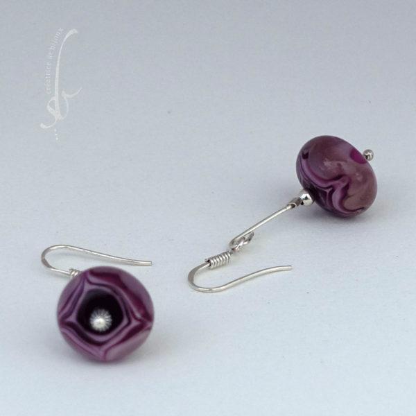 Boucles d'oreilles perles verre de murano et argent