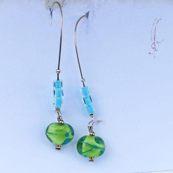 Boucles d'oreille argent perle de Murano